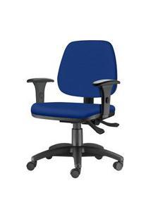 Cadeira Job Com Bracos Semi Curvados Assento Courino Azul Base Nylon Arcada - 54628 Azul