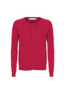 Cardigan Feminino Cashmere Tranças Com Botões - Vermelho