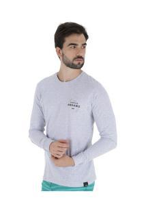 Camiseta Manga Longa Hd Estampada Thunder - Masculina - Cinza Claro