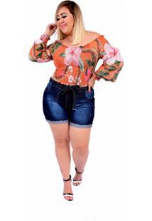 Short Jeans Feminino Plus Size Com Lycra Cintura Alta Com Cinto Escuro
