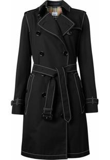 Burberry Trench Coat Com Pesponto Contrastante - Preto