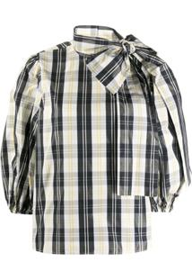 Redvalentino Puffy Sleeves Checked Blouse - Preto