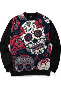 Blusa Bsc Mexican Skull Roses Full Print - Masculino