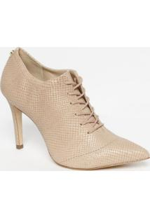 Ankle Boot Em Couro Croco - Nude - Salto: 8Cmjorge Bischoff
