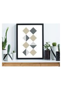 Quadro Decorativo Com Moldura Quadrados Geométricos Preto - 30X40Cm