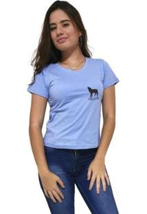 Camiseta Gola V Cellos Howled Premium Feminina - Feminino-Azul Claro