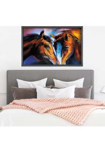 Quadro Love Decor Com Moldura Cavalos Grafitti Metalizado Grande