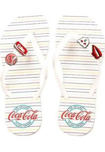 Chinelo Coca Cola Feminino - Feminino-Branco