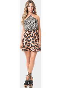 Vestido Frente Única Estampado Leopardo - Lez A Lez