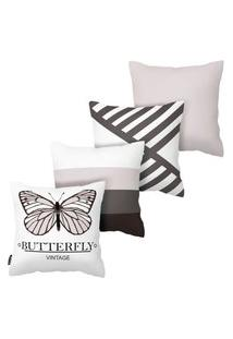 Kit Com 4 Capas Para Almofadas Butterfly Armonizzi