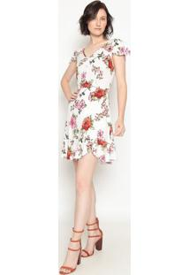 Vestido Com Recortes- Branco & Rosa- Operateoperate