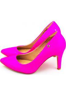 Scarpin Salto Alto Love Shoes Bico Fino Verniz Neon Pink