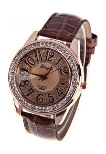 Relógio Feminino Gerryda Quartzo Números Árabes - Marrom Escuro