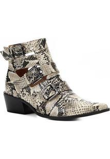 Bota Cano Curto Shoestock Snake Fivelas Feminina