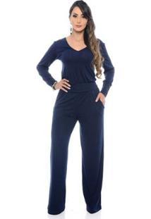 Macacão Pantalona B'Bonnie Manga Longa EllenFeminino - Feminino-Azul+Marinho