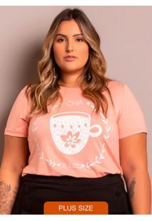 T-Shirt Chá De Juízo Plus Size Rosa