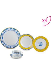 Aparelho De Jantar Amalfi- Amarelo & Azul- 20Pçsrojemac