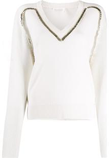 Chloé Embellished Knitted Jumper - Branco