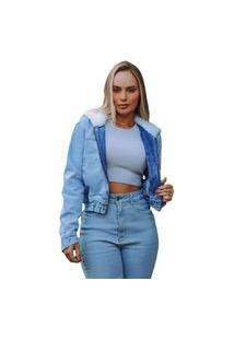 Jaqueta Cropped Consciência Jeans Com Pelo No Capuz Azul Claro