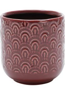 Vaso Decorativo De Cerâmica Donetz 11X11Cm - Vermelho/Branco