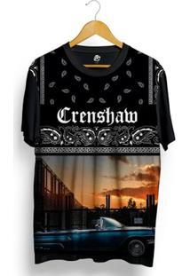 Camiseta Bsc Crenshaw Blue Lowrider Full Print - Masculino-Preto