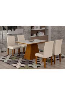 Conjunto De Mesa De Jantar Luna Com 4 Cadeiras Ane Ii Veludo Imbuia, Branco E Creme
