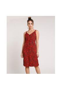 Vestido Feminino Midi Estampado Animal Print Onça Com Fenda Alça Média Vermelho