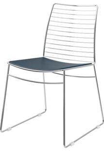 Cadeira 1712 Cromado Com Assento Courissimo Azul - 27673 - Sun House