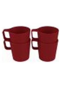 Conjunto 4 Canecas Empilháveis De 125Ml Kit Xícara Café Coza Vermelho Bold