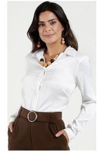 Camisa Feminina Acetinada Manga Longa Marisa