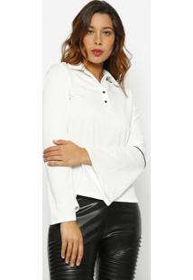 Camisa Manga Flare - Branca & Preta - Guessguess