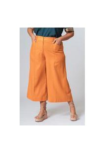 Calça Lisa Cropped Nervura Plus Size Amarelo