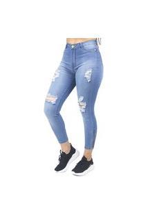 Calça Jeans Feminina Cigarrete Com Zíper Na Perna No Alcance