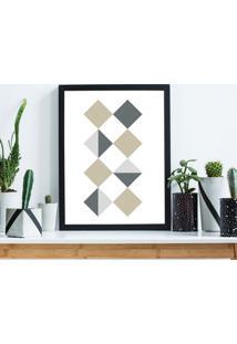 Quadro Decorativo Com Moldura Quadrados Geomã©Tricos Preto - 30X40Cm - Multicolorido - Dafiti