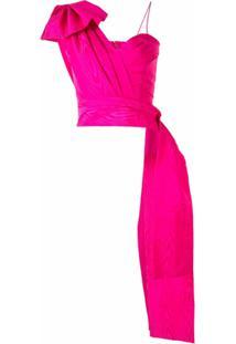 Costarellos Blusa Assimétrica Com Detalhe De Laço - Rosa