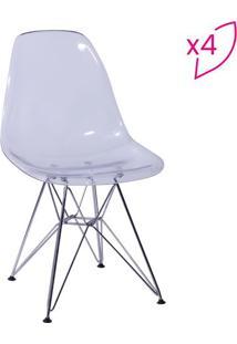 Jogo De Cadeiras Eames Dkr- Incolor & Prateado- 4Pçsor Design
