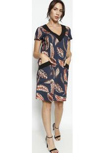 Vestido Texturizado Com Bolsos- Azul Marinho & Laranjaenna