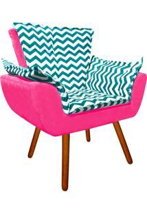 Poltrona Decorativa Opala Suede Composê Estampado Zig Zag Verde Tiffany D78 E Suede Rosa Barbie - D'Rossi - Tricae
