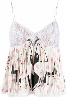 Moschino Blusa Com Estampa Floral Contrastante - Branco