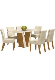 Sala De Jantar Mesa Retangular Garda 160Cm Com 6 Cadeiras Maris Nature