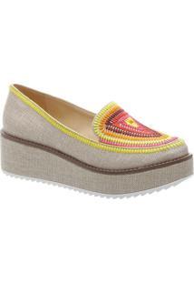 Sapato Plataforma Com Bordados- Bege Claro & Amareloschutz
