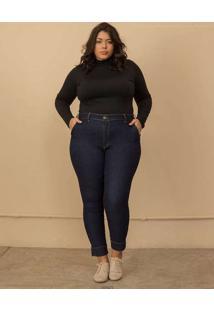 Calça Jeans Semi Social Plus Size Marinho-56 Azul