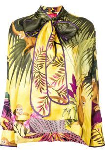 F.R.S For Restless Sleepers Blusa Drapeada Com Estampa Tropical - Amarelo