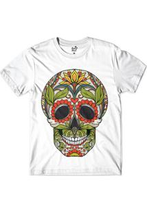 Camiseta Long Beach Caveira Folhas Sublimada Masculina - Masculino