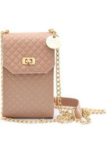 Bolsa Mini Bag Porta Celular Transversal Matelassê Feminina - Feminino-Nude