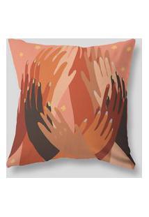 Amaro Feminino Design Up Living Capa De Almofada 42X42 Velluto Mãos Marrom, Marrom