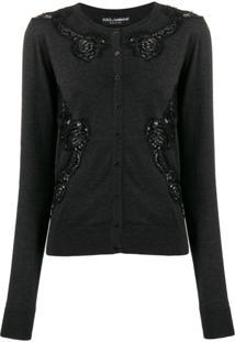 Dolce & Gabbana Cardigan Com Recortes De Renda - Preto