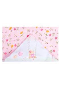 Toalha De Banho Papi Forrada Jardim Encantado Rosa