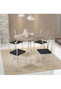 Mesa 1504 Nogueira Cromada Com 4 Cadeiras 1700 Fantasia Preto Carraro