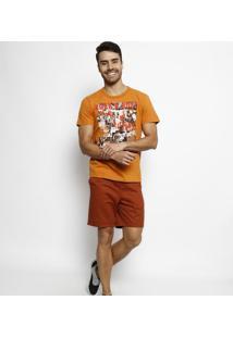 "Camiseta ""Rock N' Roll""- Laranja Escuro & Vermelha- Coca-Cola"
